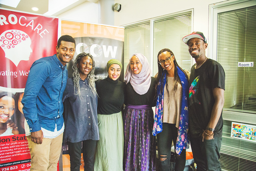 IOOW team at Inside African Minds.  L-R: Fromsa Ali (Junior project manager); Morayo Adeyemi (creative assistant); Aysha Tufa (co-founder & creative director); Rahma Naser (senior project manger); Soreti Kadir (co-founder & directing manager) & Wani Toa (senior project manager).